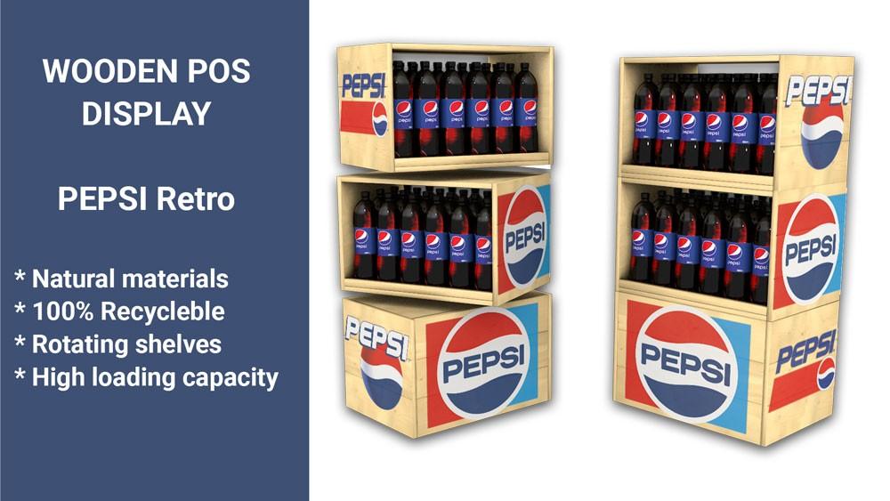 Дървен стелаж Pepsi Retro
